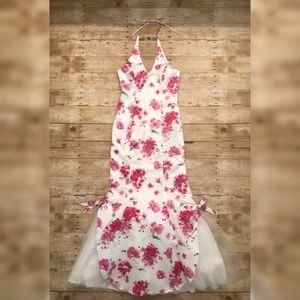 Mermaid Fit with Pink Floral Print Homecoming Gown
